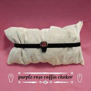 Cute Handmade Choker ~ Purple Rose Coffin Necklace